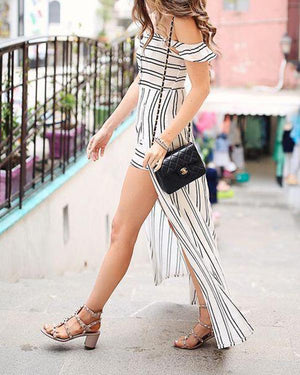 Sexy Irregular Off-The-Shoulder Stripe Dress