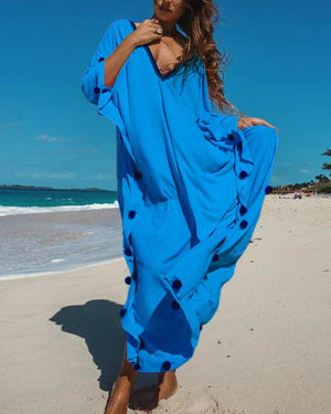 V Neck Women Summer Irregular Shift Maxi Dresses
