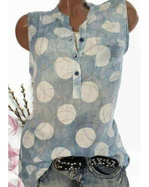 Casual Sleeveless Stand Collar Printed Color Vests Top