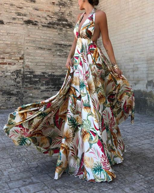 V Collar Sleeveless Summer Holiday Print Maxi Dress