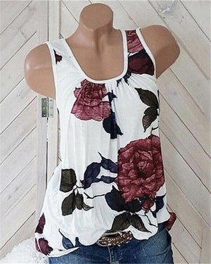 Crew Neck Vintage Floral Casual Halter Tank Blouse