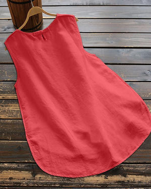 Crew Neck Sleeveless Solid Irregular Plus Size Vests Tops