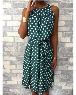 Casual Crew Neck Polka Dot Sleeveless Plus Size Dress
