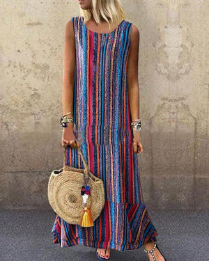 Summer Casual Fashion Printed Crew Neck  Maxi Dress