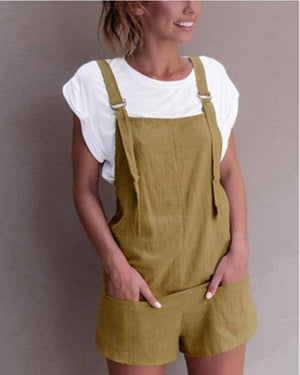 Vintage Pure Color Shoulder Strap Short Jumpsuits