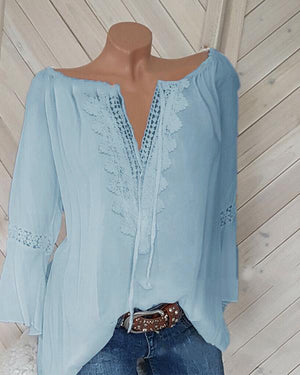 Casual Long Sleeve V Neck Plus Size Shirts Tops