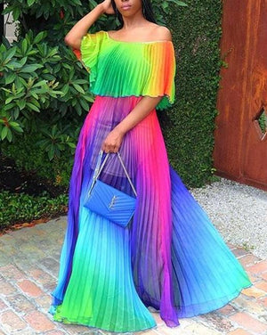 Gradient Ramp Off Shoulder Summer Maxi Dress