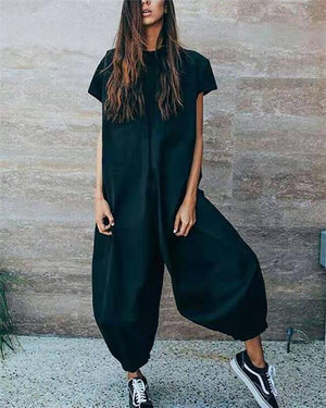 Solid Casual Short Sleeve Jumpsuits