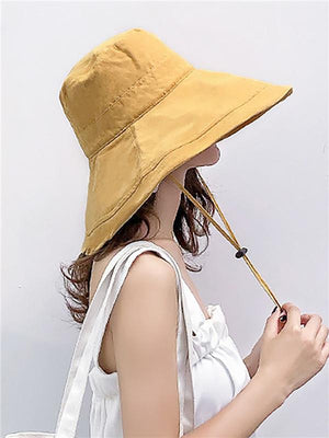 Solid Polyester Elegant Beach Hat