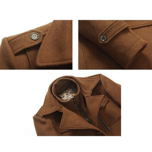 Thickened Warm Wool Coat Turndown Collar Zipper Outwear