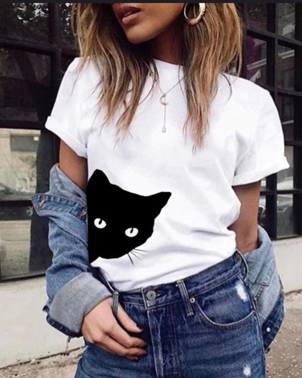 eefddd3e77eeb1 Women Casual Funny Print Cat Looking Outside Plus Size T-shirts Tops