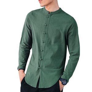 Chinese Style Loose Stand Color Linen Shirts for Men