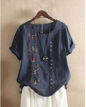 Bohemian Embroidery Floral Short Sleeve Summer T-Shirt
