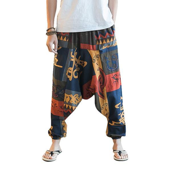 special discount enjoy clearance price exclusive range Casual Baggy 100% Cotton Harem Pants Printed Loose Wide Leg Pants