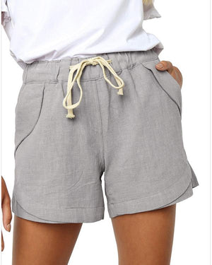 Women Summer Pocket Solid Color Wide Leg Shorts
