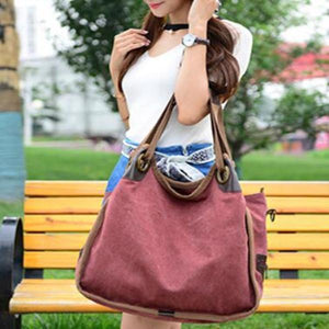 Large Capacity Canvas Handbag Shopping Travel Bag