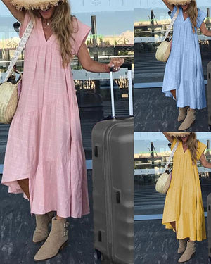 Solid Irregular V Neck Casual Shift Beach Vacation Dresses