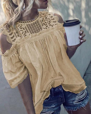 Fashion Crew Neck Half Sleeve Hollow Solid Blouses Tops