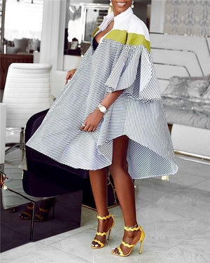 African Women Stripe Shirt Dress