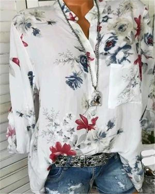 Autumn Fshinable White Basic Floral Blouses & Shirt