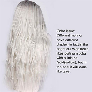 Generic Natural Long Curly Wavy Platinum Blonde Wig Middle Parting Synthetic Replacement Wig