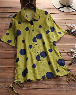 Casual Polka Dots Printed Short Sleeve Shirts Tops