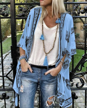 Casual Printed 3/4 Sleeves Vacation Beach Cardigan
