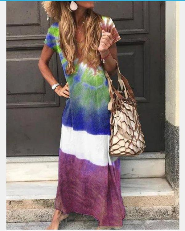 Crew Neck Casual Short Sleeve Gradient Maxi Dresses
