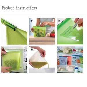 Reusable Silicone Food Storage Bag Food Preservation Bag for Fruits Vegetables Meat Airtight Seal Food Container