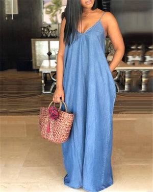 Draped Spaghetti Strap Plus Size V-neck Casual Denim Maxi Dress