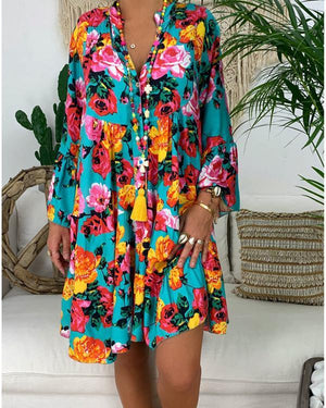 V Neck Summer Printed Holiday Chic Dresses