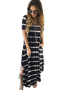 Striped Irregular V Neck Casual Shift Bench Vocation Dresses