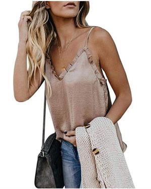 Summer Sexy Sling V-Neck Solid Vests Tops