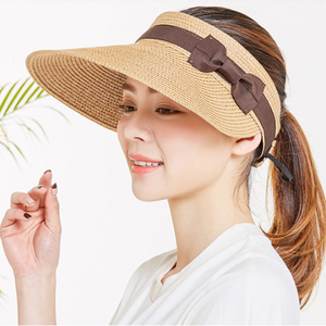 Wide Brim and Visor Style Straw Hats For Women Hollowed-out Top Visor Hats Adjustable Cap