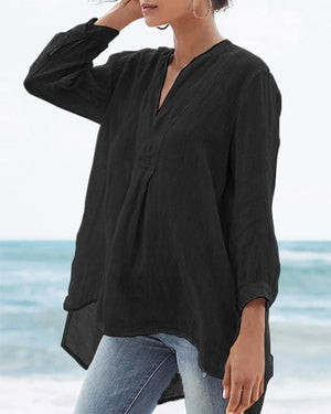 Solid V Neck Casual 3/4 Sleeve Plus Size Shirts