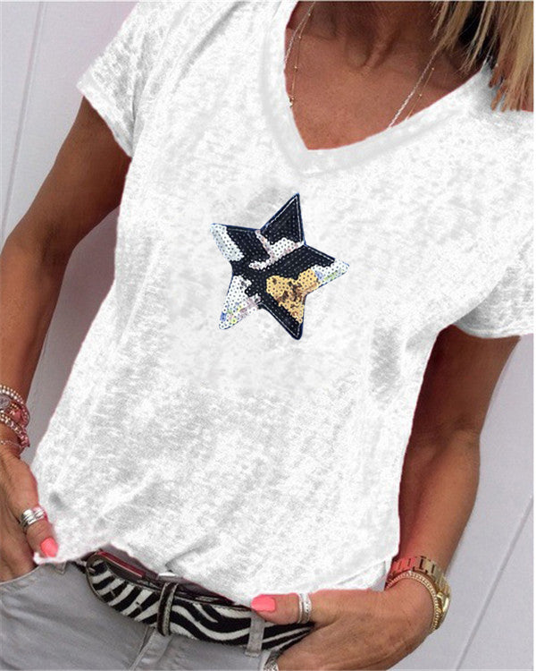 Fashion Women Star Printed Summer V Neck Printed Holiday Daily Blouse