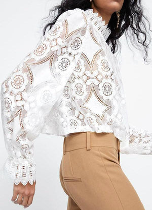 Fashion High Neck Long Sleeve Lace Blouses