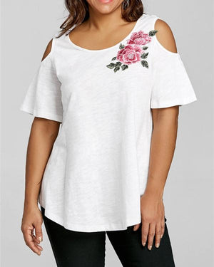 Round Neck Mid-Length Floral Loose Fashion T-Shirt