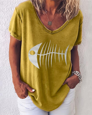 Fish Printed Short Sleeve V Neck Shirts Tops