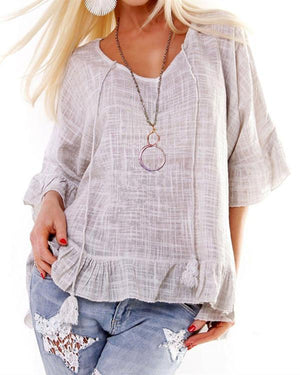 Casual Solid Color Crew Neck Half Sleeve Blouse Top