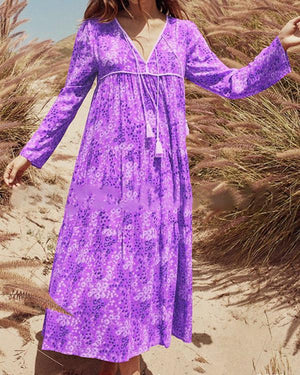 Printed Long Sleeve V Neck Bohemian Plus Size Maxi Dress