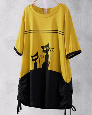 Stitching Cat Printed Crew Neck Short Sleeve Blouses Tops