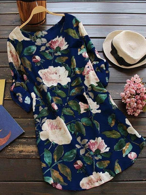 Round Neck Floral Printed Long Sleeve  Plus Size Blouses Dress