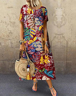 Vintage Printage Round Neck Short Sleeve Dresses