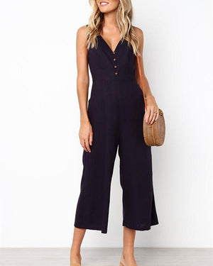 Fashion Sleeveless V Neck Solid Button Wide Leg Jumpsuit