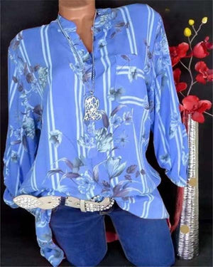 Summer Polyester Women V-Neck Floral Printed Long Sleeve Blouses