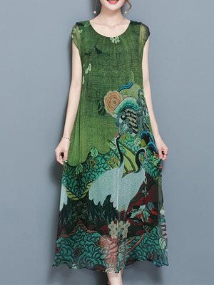 Women Vintage Printed Short Sleeve Mid-Long Dresses