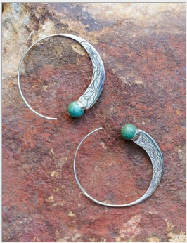 Antique 925 Silver Natural Gemstone Turquoise Hoop Dangle Stud Earrings