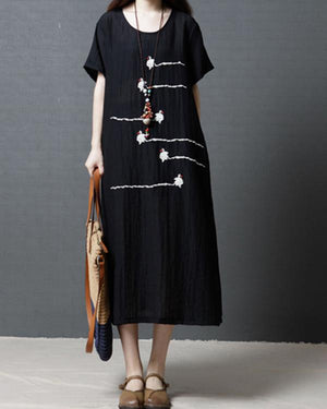 Plus Size Crew Neck Sling Printed Maxi Dress