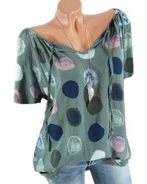 Polka Dots Short Sleeve V-neck Casual Shirts
